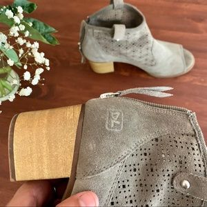 Shoes - • Grey Suede Perforated Booties •
